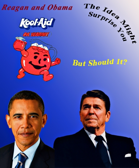 Reagan Obama and Kool Aid Man