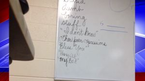 The teacher allegedly has a list of words that students may not use in the classroom.