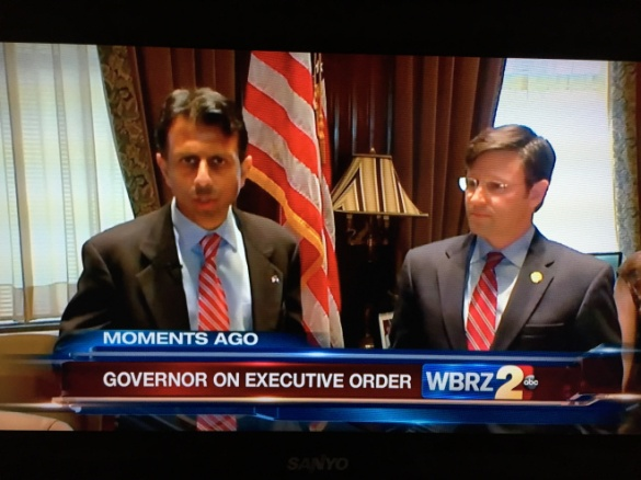 Screen shot from WBRZ-TV of Gov. Bobby Jindal and state Rep. Mike Johnson, R-Bossier City, announcing a