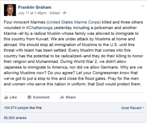 Franklin Graham Facebook Page Post