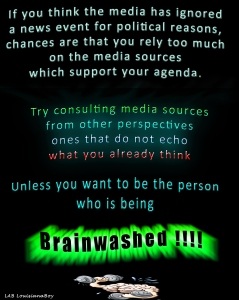 Use a variety of media sources to avoid being brainwashed